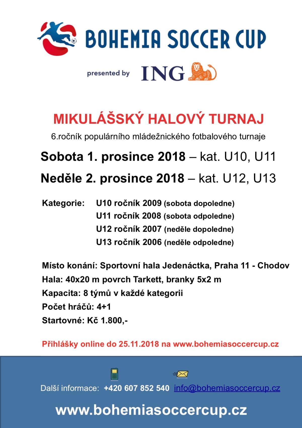 Mikulášský halový turnaj ING Bohemia Soccer Cup 2018